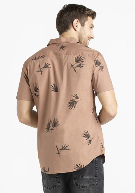 Men's Palm Print Shirt, SAND, hi-res