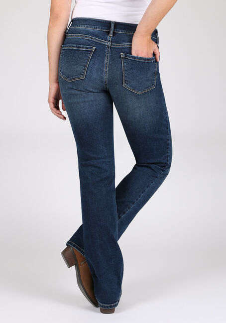 Women's Indigo Wash High Rise Straight Jeans, MEDIUM WASH, hi-res