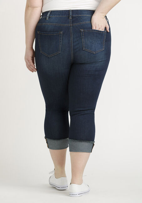 Women's Plus Destroyed Cuffed Capri, DARK WASH, hi-res