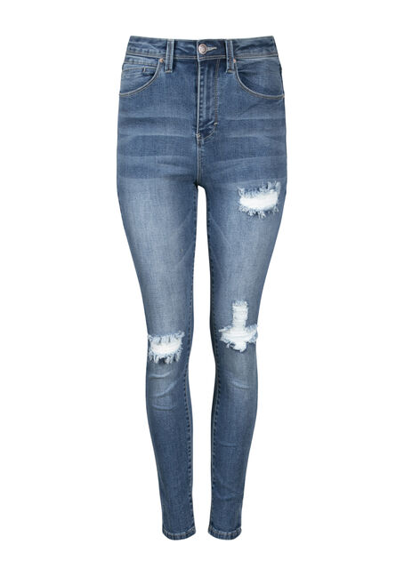 Women's High Rise Rip & Tear Skinny Jean