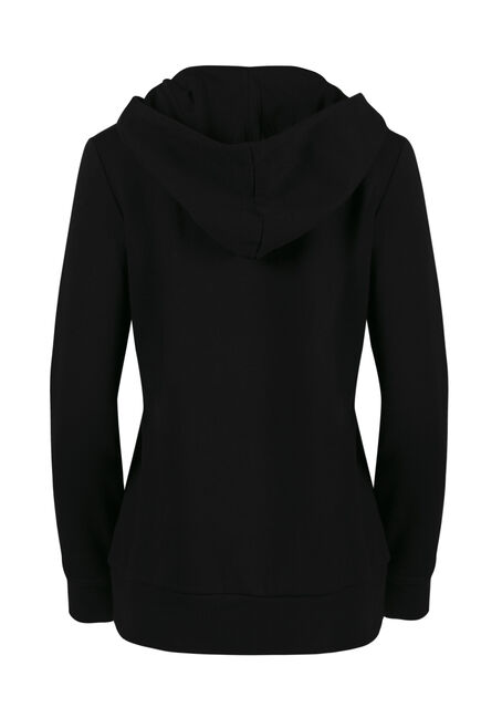 Ladies' Lace Up Hoodie, BLACK, hi-res