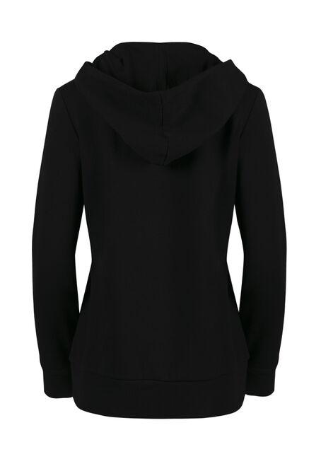 Women's Lace Up Hoodie, BLACK, hi-res