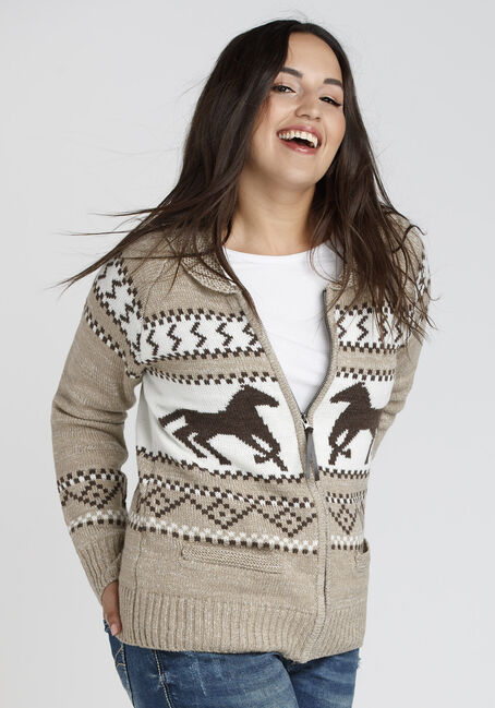 Ladies' Nordic Horse Cardigan, OATMEAL, hi-res