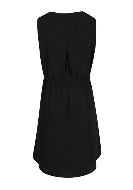 Ladies' Lace Up Shirt Dress, BLACK, hi-res