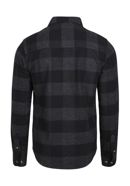 Men's Buffalo Plaid Flannel Shirt, CHARCOAL, hi-res