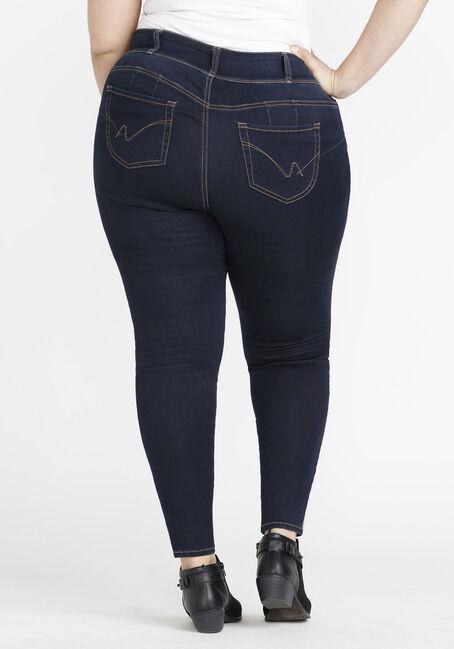 Women's Plus 3 Button Waist Skinny Jeans, DARK WASH, hi-res