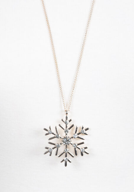 Women's Snowflake Necklace, ROSE GOLD, hi-res