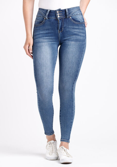 Women's 3 Button High Rise Skinny Jeans