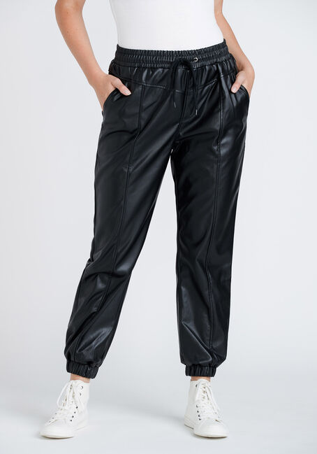 Women's High Rise Faux Leather Jogger