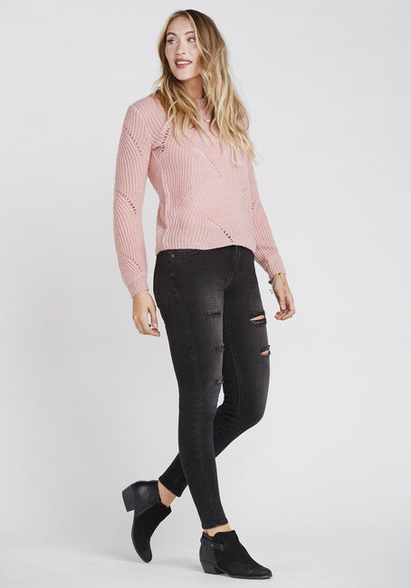 Women's Pointelle Crew Neck Sweater, DUSTY PINK, hi-res