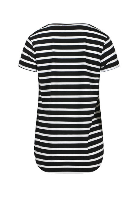 Womens' V-Neck Stripe Tee, BLACK, hi-res