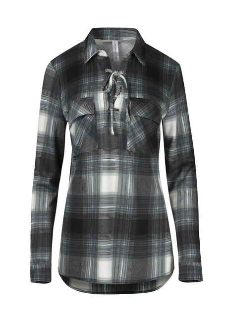 Ladies' Lace Up Knit Plaid Shirt
