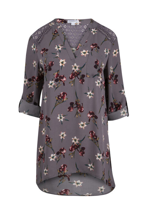 Women's Floral Lace Tunic Top, GREY, hi-res