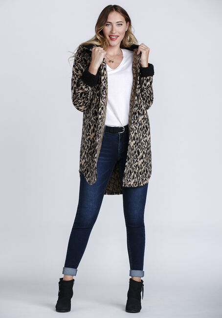 Women's Leopard Print Coat, BROWN, hi-res