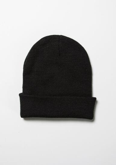 Men's Ribbed Hat, BLACK, hi-res