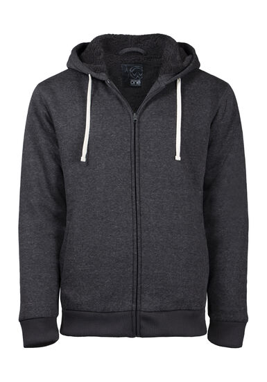 Men's Sherpa Lined Zip Front Hoodie, CHARCOAL, hi-res