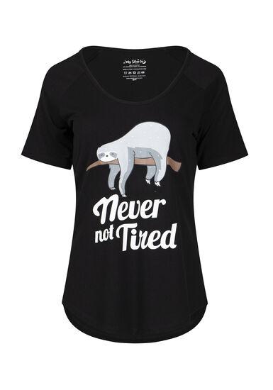 Women's Never Not Tired Sloth Sleep Tee, BLACK, hi-res