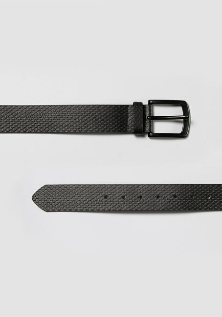 Men's Embossed Black Buckle Belt, BLACK, hi-res