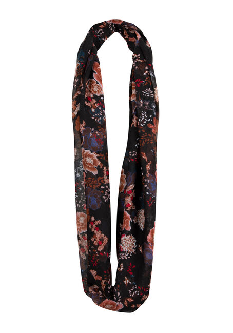 Ladies Floral Infinity Scarf, COPPER, hi-res