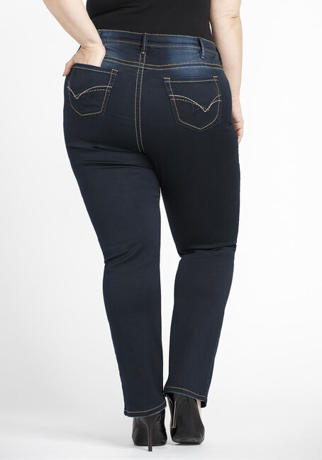 Women's Plus Size High Rise Straight Jeans, DARK WASH, hi-res