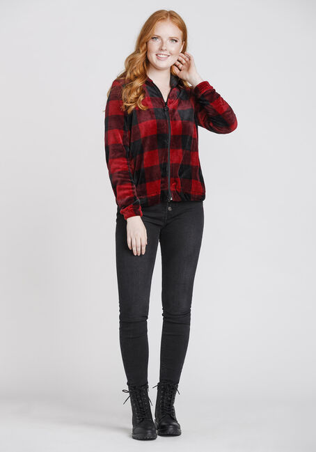 Women's Plush Buffalo Plaid Zip Front Hoodie, RED/BLK, hi-res