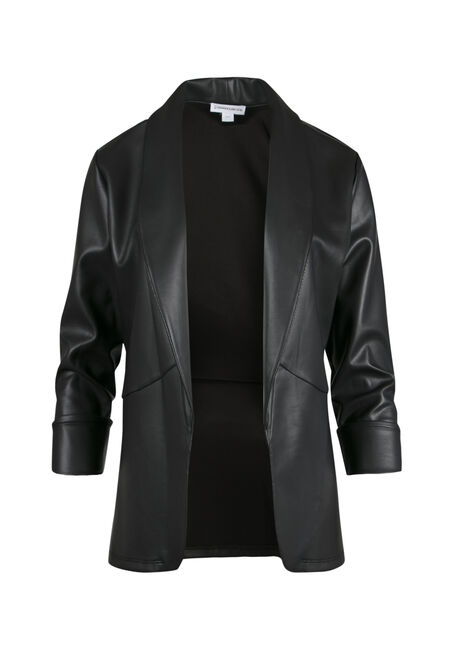 Ladies' Faux Leather Open Blazer