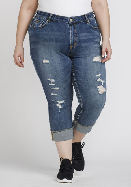 Women's Plus Size Distressed Skinny Cuffed Capri
