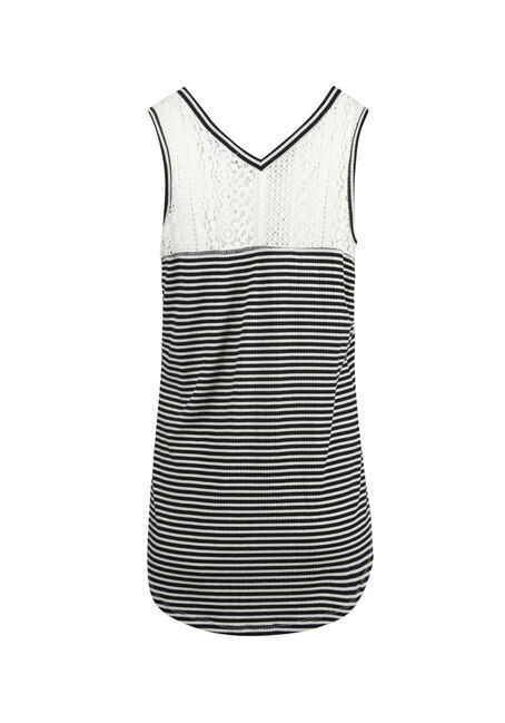 Ladies' Mini Stripe Tank, BLK/WHT, hi-res