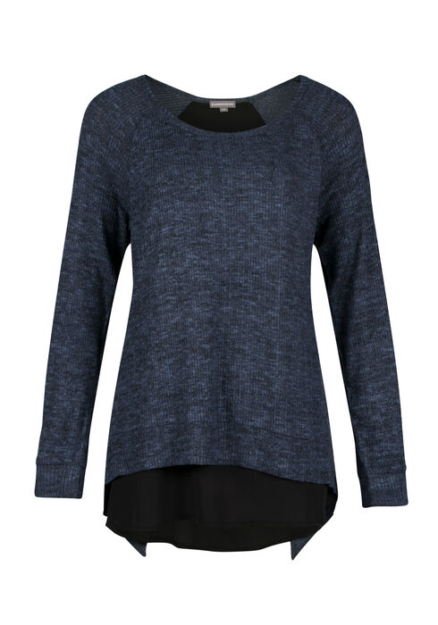 Ladies' Rib knit Pullover, MOONLIGHT BLUE, hi-res