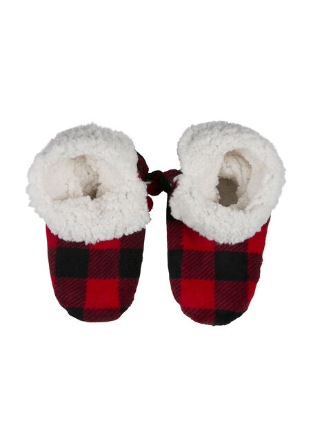 Ladies' Cabin Slippers, RED, hi-res