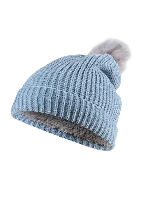 Ladies' Chenille Pom Pom Hat, SHADOW BLUE, hi-res