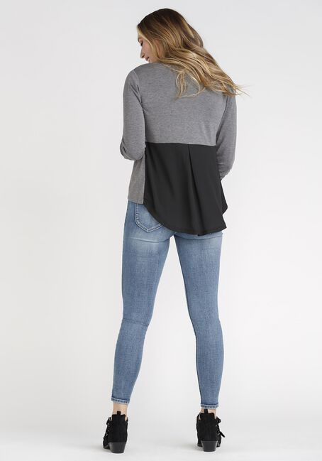 Women's Chiffon Back Blazer, CHARCOAL, hi-res