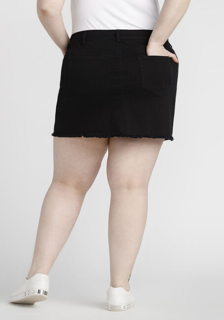 Women's Plus Size Destroyed Denim Skirt, BLACK, hi-res