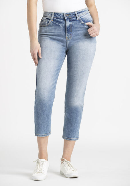 Women's High Rise Crop Straight Jeans