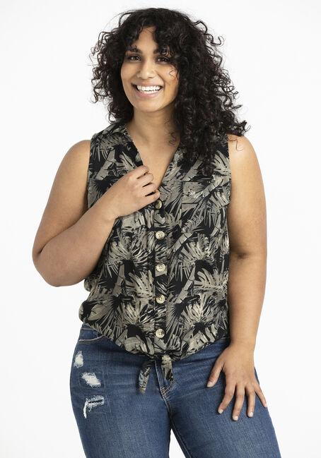 Women's Palm Print Tie Front Shirt