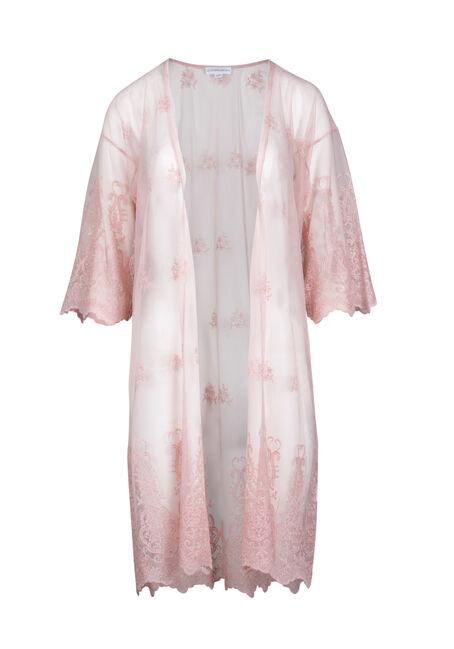 Women's Embroidered Mesh Kimono Duster