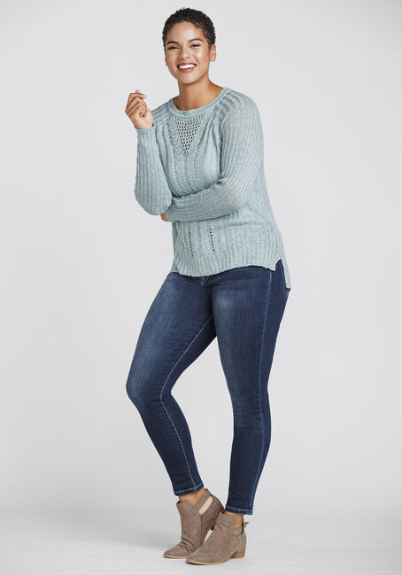 Women's Pointelle Sweater, MISTY BLUE, hi-res