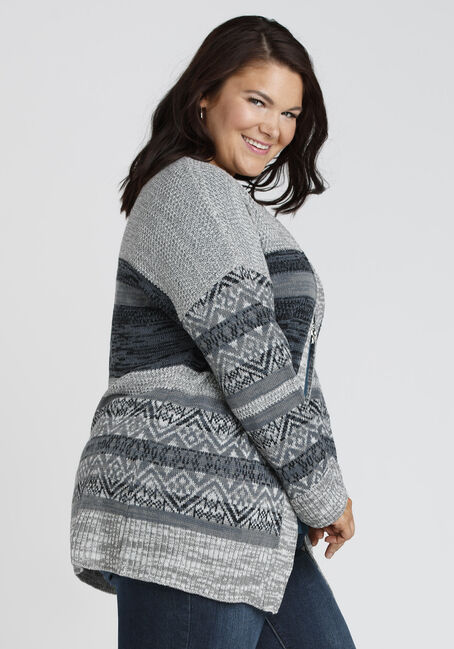 Ladies' Nordic Stripe Cardigan, CHARCOAL MIX, hi-res