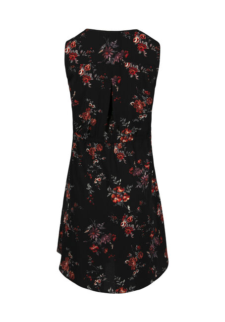Women's Dark Florals Lace Up Dress, BLACK, hi-res