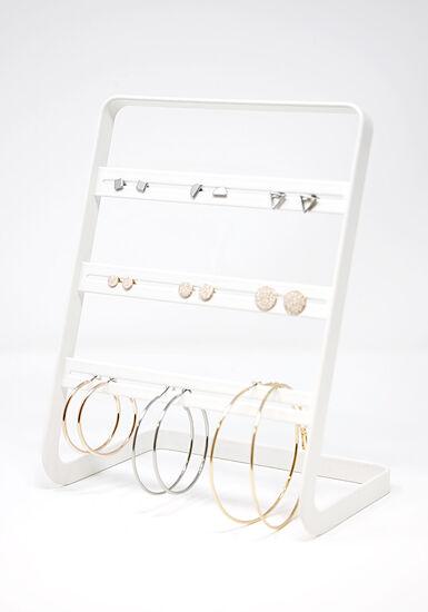 Women's 9 Pair Hoops & Studs Earring Set, MIXED METALS, hi-res