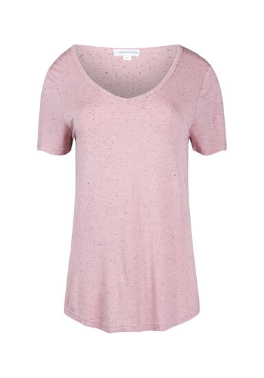 Women's Speckle V-Neck Tee, DUSTY PINK, hi-res