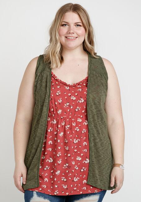 Women's Slub Knit Vest with Lace Back