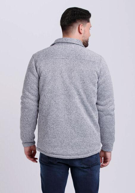 Men's Sweater Knit Shirt Jacket, HEATHER GREY, hi-res