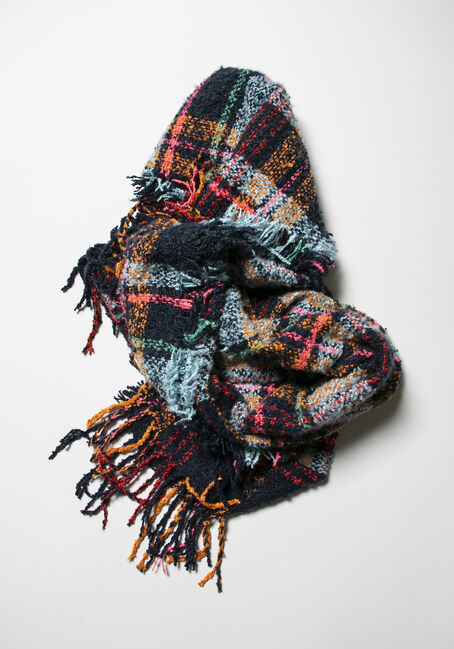 Women's Plaid Blanket Scarf, NAVY/MULTI, hi-res