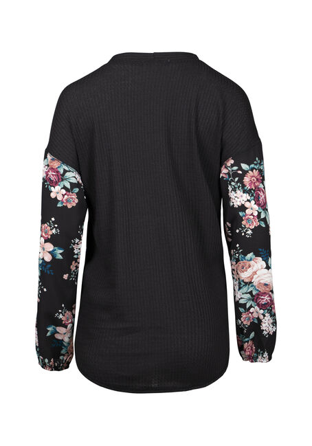 Women's Floral Tie Front Waffle Top, BLACK, hi-res