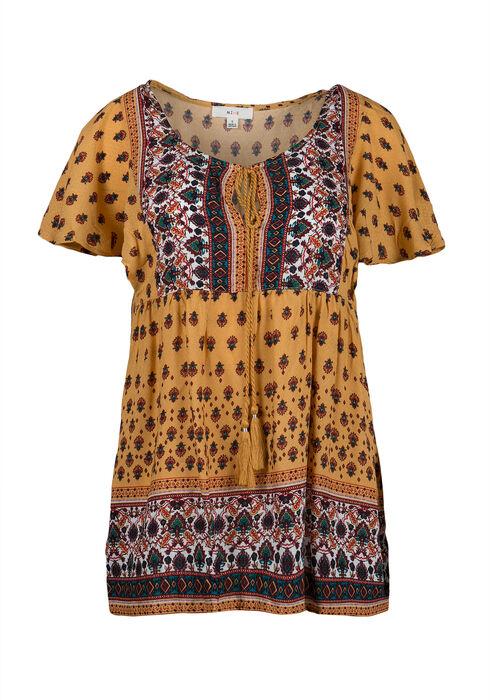 Ladies' Twin Print Peasant Top, MUSTARD, hi-res