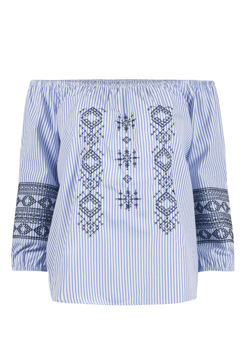 Ladies' Embroidered Bardot Top, LT BLUE, hi-res