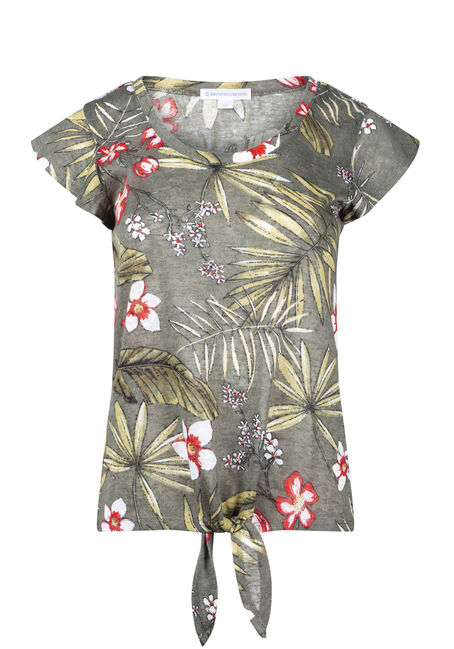 Women's Tropical Print Tie Front Tee