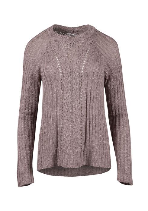 Ladies' Pointelle Sweater, MAUVE, hi-res