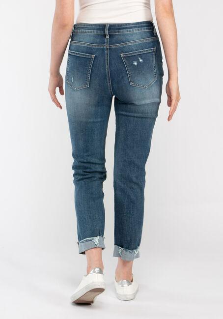 Women's Destroyed Cuffed Girlfriend Jeans, DARK WASH, hi-res